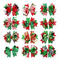 Wholesale Stripe Ribbon Hair Bows - Girls Christmas hairpins dovetail Barrettes bow with clip children snowflake Dot stripe hair accessories Bow Hair clips 13colors