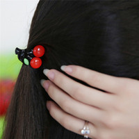 Wholesale Acrylic Hair Ornaments - 2016 Hot Sale Rushed Acrylic Cherry Gripper Korea Hair Accessories Hairpin Small Plate Made Trumpet Catch Clips Fruit Bangs Head Ornaments