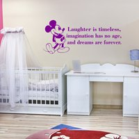 Wholesale Baby Quote Wall Decals - Cute Mouse Quote Wall Decal laughter is timeless waterproof Vinyl Wall Sticker for Baby Room Decor