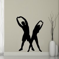 Wholesale Kids Aerobics - Man And Woman Aerobics Wall Stickers Home Decor Gym Fitness Yoga Wall Decals Vinyl Stickers