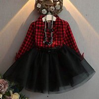 Vendita al dettaglio primavera autunno ragazze vestono rosso nero plaid  manica lunga in cotone abito garza cintura nera E7053 fe8282827208