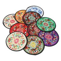Wholesale Traditional Fabric Wholesale - Wholesale Retro Non-woven Embroidery Floral Pattern Ethnic Coaster Tribal Cup Teapot Mat Drink Holder Floral Tableware Placemat
