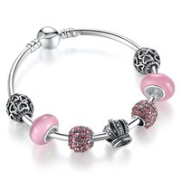 Wholesale Brilliant Beads - Fashion Charm Bracelet Bangles with Pink Murano Glass Beads & Brilliant Cubic Zirconia Silver Charms & Crown Charms BL086