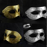 Wholesale Vintage Carnival Costumes - Men's retro Greco-Roman Gladiator masquerade masks Vintage Golden Silver Mask silver Carnival Mask Mens Halloween Costume Party Mask