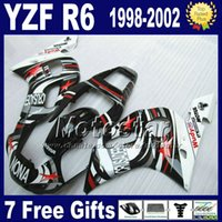 Wholesale Yamaha R6 Abs - 7 Free gifts + Plastic fairing kit for YAMAHA YZF600 98-02 YZFR6 YZF-R6 1998 1999 2000 2001 2002 white black NONA fairings set VB90