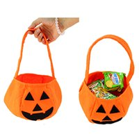 Wholesale Halloween Party Treats - Halloween Smile Pumpkin Bag Kids Candy Bag Children Handhold bag Party Supplies Treat