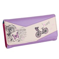 Wholesale Bicycle Bag Holder - Wholesale- New Arrival Women Wallet Printed Bicycle Fashion Female Butterfly PurseLady Long Card Phone Bag handbag Carteira Feminina