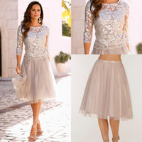 Wholesale Two Piece Bride - 2018 Short Two Pieces Mother Of The Bride Groom Dresses Lace Tulle Knee Length 3 4 Long Sleeves Evening Prom Dresses