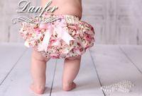 ingrosso bambini bloomers corti-NUOVO ARRIVO della neonata bambini bambino neonato raso bloomers pizzo bloomers fiore rosa stampa floreale bloomers pannolino copre bowknot carino pantaloncini