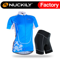 Wholesale Dry Suits For Women - Nuckily Womens blue cycling jersey set with foam pad Hot selling with soft hand feeling riding clothes suit for ladies NJ516&NS359