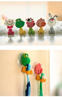 Wholesale Cute Wholesale Bathroom Accessories - Free shipping cute Cartoon sucker toothbrush holder suction hooks bathroom set accessories Eco-Friendly TY70