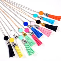 Wholesale Monogram Necklaces Wholesale - 9 Colors Monogram Blank Enamel Disc Long Chain Pendant Leather Tassel Necklace for Women Custom Personalized Jewelry Gold Silver Mixed