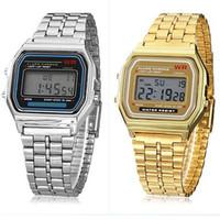 Wholesale Wrist Watch Digital Thin - Fashion Men's watch F-91W alarm clock Ultra-thin LED watch with LED Backlight Men's Electronic Stainless Steel Wrist Watch