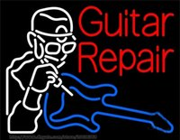 Reparo de guitarra Neon Sign Store Custom Sign Display Company Negócios Publicidade Assinar Real Glass Tube Sign dodgers LED Neon Light 24