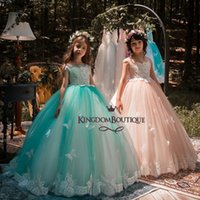 Wholesale Kids Party Gowns Designs - 2018 New Design Mint Green Girls Pageant Dresses Ball Gown Lace Appliqued Butterflies Kids Evening Prom Party Gowns