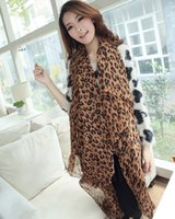 Barato Cachecol De Xaile De Impressão Animal Longo-Venda Por Atacado New Fashion Large Leopard Soft Chiffon Shawl Scarf Long Impressão lenço lenços xales para mulheres Hot sale HM