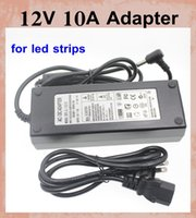 Wholesale Dc Adaptor Led - AC 100-240V to DC 12V 10A Power Adapter Supply adaptor EU AU UK US plug for l5050 3528 led strip lighting charger adapter dhl free DY007