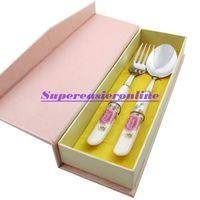 керамический цветочный узор оптовых-Wholesale-Stainless Steel 2in1 Dinnerware Kit Fork & Spoon Ceramic Handle with Pink Flower Pattern Flatware Set in Gift Box For Adult