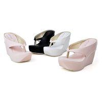 Wholesale Thong Platform High Heels - Womens Slides Thong Flip-Flops High Platform Wedge Heels Beach Sandals Shoes