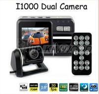 lente de zoom de vídeo al por mayor-Full HD 1080P Dual Lens Car DVR Dual Camera Car Video Recorder Blackbox Dash Cam Visión Nocturna 140View Dual Lens Camcorder i1000