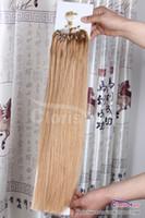 micro ring loop blonde achat en gros de-Outlet # 27 Blonde Fraise / Miel 100strand Boucle Facile Micro Anneaux Perle Extension De Cheveux Humains Européens Cheveux Remy Soyeux Droite 0.5g / s
