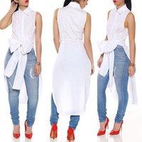 Wholesale Sleeveless Long Blouse White - women chiffon blouse streetwear long white bow blusas femininas 2015 summer style casual sleeveless chiffon shirt blouse XD021