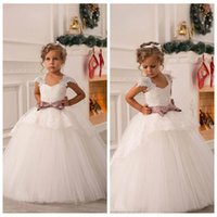 Wholesale Cheap Cute Little Girl Dresses - Cute Ivory Lace Beaded 2018 Ball Gown Flower Girl Dresses Vintage Kids Little Girl Wedding Dresses Cheap Pageant Dresses