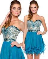 Wholesale Sweetheart Neckline Draped Chiffon Dress - Attractive Beaded Homecoming Dresses A-Line Sweetheart Neckline Knee Length Sleeveless Casual Draped Short Chiffon Prom Gowns