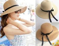 Wholesale Wholesale Straw Hats Adult - Floppy Foldable Women Straw Beach Sun Summer Hat Beige Wide Brim 6Pcs Lot