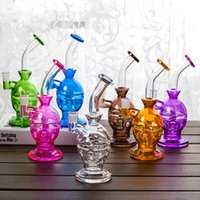 """Wholesale Double Layer Bowl - Double Layer Glass Bong 9.4"""" Glass Pipes Faberge Eggs Perc Water Smoking Pipe With 2 Glass Bowl 28CM Height 7 Colors WP054"""