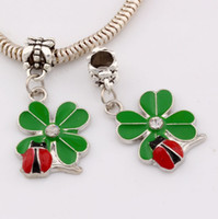 Wholesale Wholesale Ladybug Beads - Hot Sell ! 50pcs Green Enamel Lucky Grass With Ladybug Charm Dangle Bead Fit Charm Bracelet DIY Jewelry 18x33mm