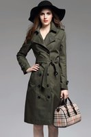 Wholesale Green Trench Coats - Long style double row of ox horn buckled trench coat women's coat 2017 autumn wear new hot sell shoulder sleeve slim