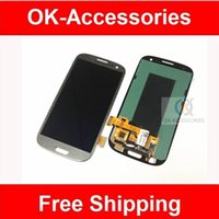 Wholesale S3 Grey - 4.8 inches Grey color for Samsung galaxy S3 I747 T999 LCD screen + digitizer touch with frame 1pcs lot free shipping