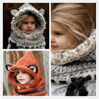 häkeln baby-sets groihandel-2 Farbe Schöne häkeln fuchs ohr winter winddicht hüte neue Mode schal set für kinder häkeln kopfbedeckungen weichen warmen hut baby winter mützen