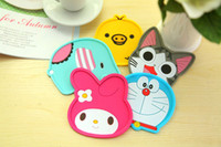 Barato Copos De Chá À Venda-Hot sale cute 3D Cartoon Silicone Protective Tea Coffee Cup Mat Coaster Pad Anti-skid Pad de mesa MAT