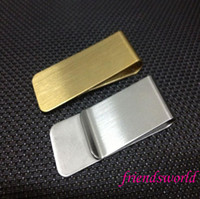 Wholesale Wholesale Metal Money Clips - Stainless Steel Brass Money Clipper Slim Money Wallet Clip Clamp Card Holder Credit Name Card Holder