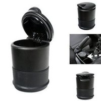 Wholesale Wholesale Small Cup Holder - Wholesale-2015 fashion small gift LED Cigarette Ashtray Holder Car Auto Portable Smokeless Cup Holder Black cylindrical shape