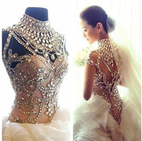 Wholesale Simple Drop Back Wedding Dress - Luxury 2015 Crystal Wedding Dresses High Collar 2016 Bridal Gowns With Sleeveless Zip Back Floor Length Organza Haute Wedding Gowns