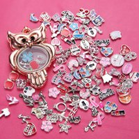 Diy Owl Alloy Floating Charm Locket Round Glass Lockets Jóias 5 cores 5PCS Venda DIY Lockets Jóias pendentes