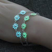 синие браслеты оптовых-Новые синий зеленый светящиеся хризантемы браслет светятся в темноте Фея флюорит волшебный браслет ювелирных изделий