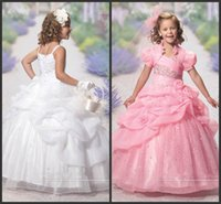 Wholesale Cheap Kids Jackets - Pageant Dresses Crystals Sequin Dresses Pick Up Elegant Cheap Dress With Jacket Sweet Kids Wear Pick Up Hand Made Flowers Sparked Cute Gown