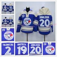 Wholesale Shorts Sweatshirt Man - Toronto Blue Jays Hoodie 20 Josh Donaldson Jersey 19 Jose Bautista 55 Russell Martin Blue Stitched Pullover Hoodie Sweatshirt