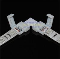 l şerit konektör toptan satış-Toptan-5 takım / grup LED RGB şerit PCB kurulu konektörü 10mm 4pin