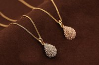 Wholesale Vintage Teardrop Rhinestone Necklace Pendant - 2015 Brand New Designer Women Cute Sweet Statement Gold Vintage Rhinestone silver plated Crystal Teardrop Necklaces Pendants