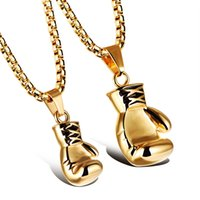 Wholesale Boxer Charms - Stainless Steel 18K Gold Plated Boxing Glove Pendant Necklace Boxer Charm Muai Thai Jewelry Available in 2 Size