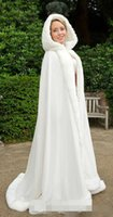 Wholesale Fur Trim Hooded Jacket - 2015 Winter White Wedding Cloak Cape Hooded with Fur Trim Long Bridal Jacket Free Shipping women dress jacket
