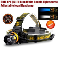 Wholesale Blue Light Led Headlamp - AloneFire HP82 Cree XPE Q5 2 LED Blue white Double light source Zoom led Headlamp Headlight for 1 2x18650 rechargeable battery