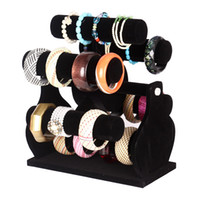 Wholesale Windmill Bracelet - Six-Layer Rotating Black Velvet Windmill Watch Bracelet Bangle Storage Rack Holder Jewelry Display Stand Jewellery Counter Showcase Props