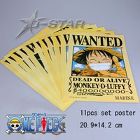 Wholesale One Piece Wanted - Free Shipping 11pcs One Piece Anime Wanted 21*14cm Small Size High Quality Embossing Posters Poster (11pcs per set)