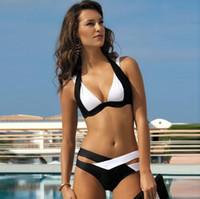 beyaz, üçgen bikini yukarı itin toptan satış-Kadınlar Için sıcak Satış Bikini Set Bikini Push Up Beyaz Siyah Patchwork Mayo Seksi Yüksek Belli Mayo Yastıklı Bra Üçgen Mayo